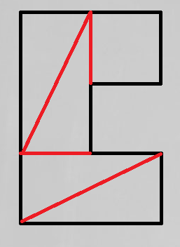 Letter C solution of the square problem - divided by 4 lines in order to form a square